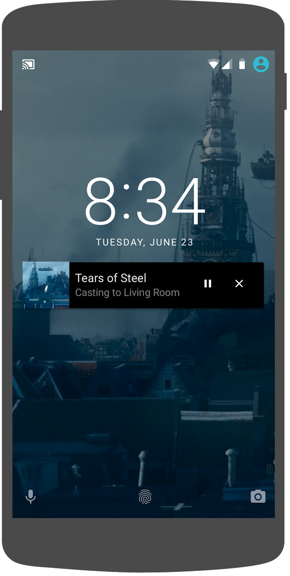 Illustration of an Android phone showing media controls on the lock screen