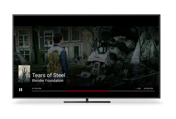 A TV Showing Chromecast's Live UI for Scenario 8 with Clock Time