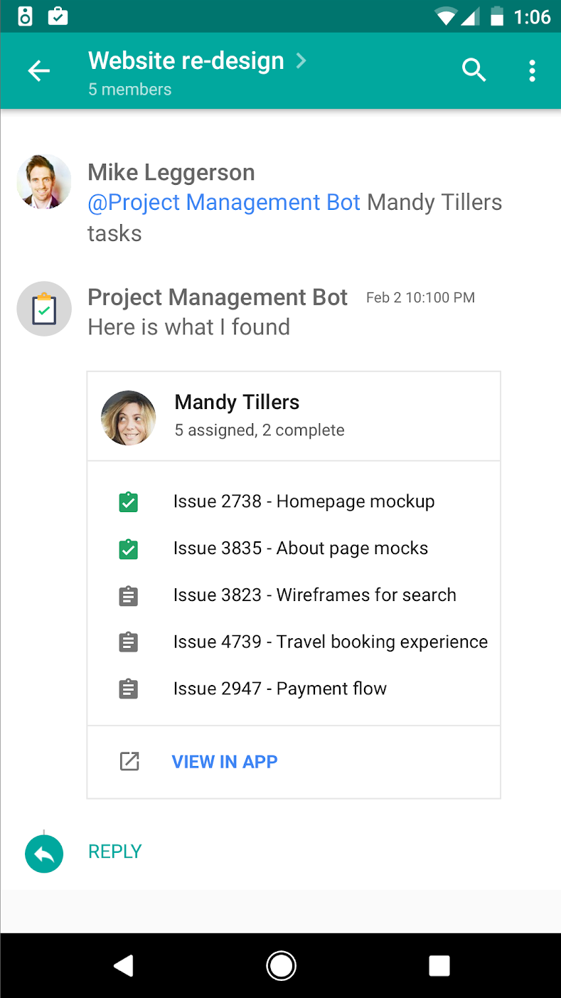 Messages, spaces, and cards | Hangouts Chat API | Google