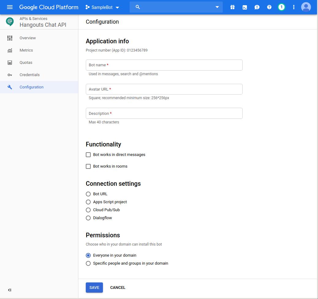 Publishing bots | Hangouts Chat API | Google Developers
