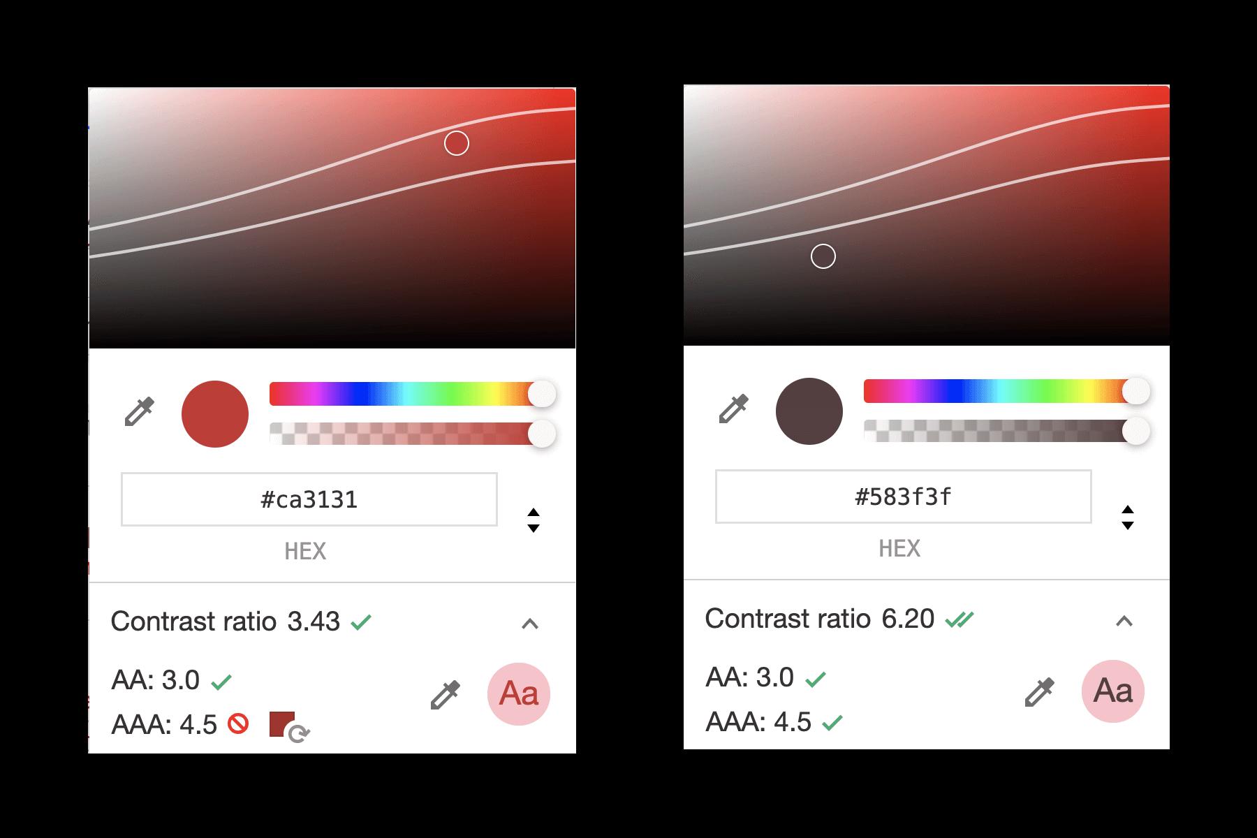 색상 대비 체크표시