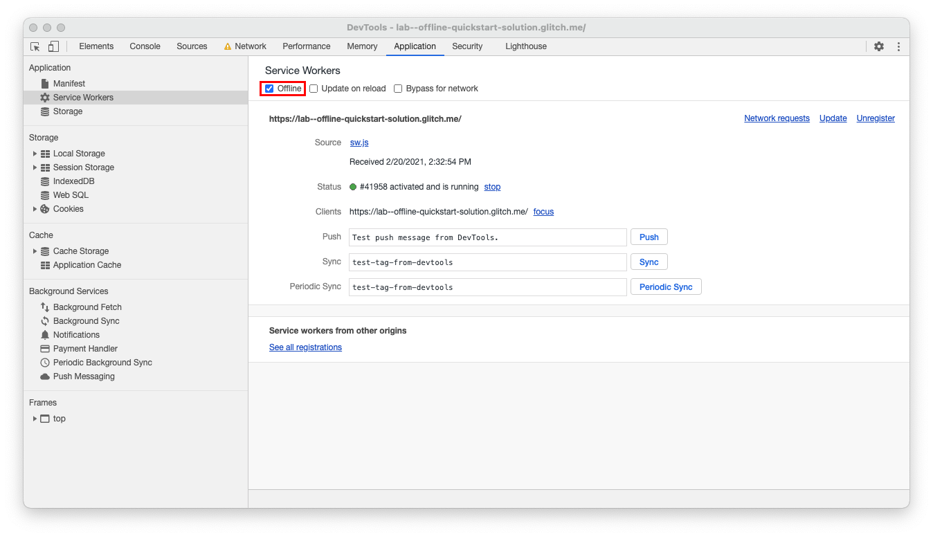 Chrome Dev Tools Application tab opened to Service Workers with the Offline checkbox checked
