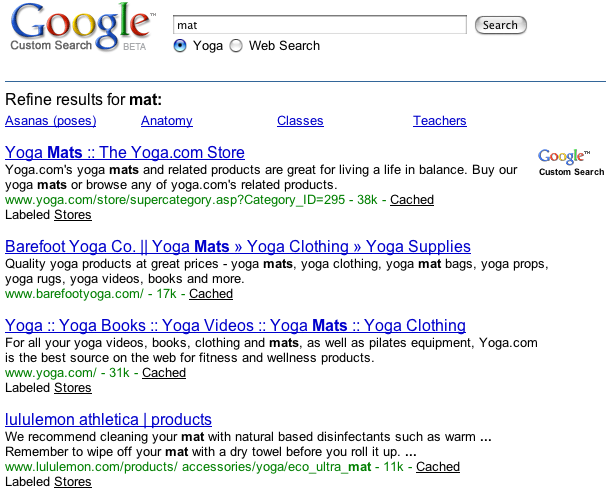 Example of a search engine that uses the keyword yoga