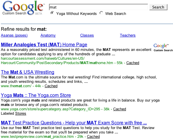 Example of a search engine that does not use keywords