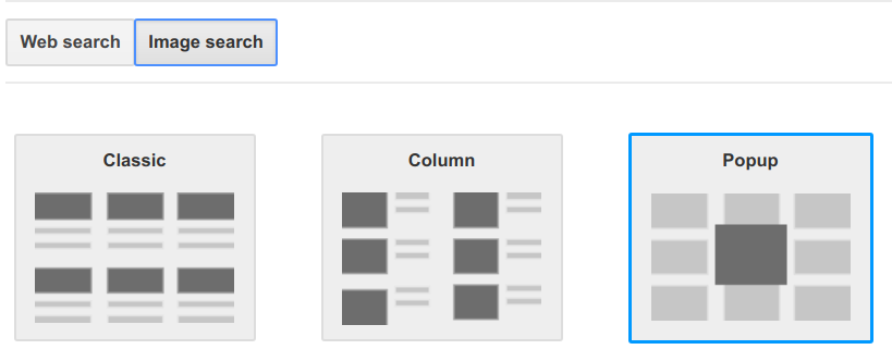 Google Custom Search image search results layout options
