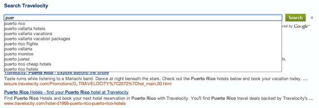 Typing p-u-e-r in a Programmable Search Engine for a travel site brings up a drop-down list with options for puerto rico, puerto vallarta hotels, puerto vallarta vacations and so on.
