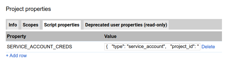 Saving service account keys in Script Properties