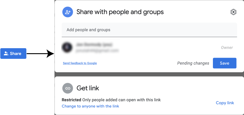 Share button and dialog