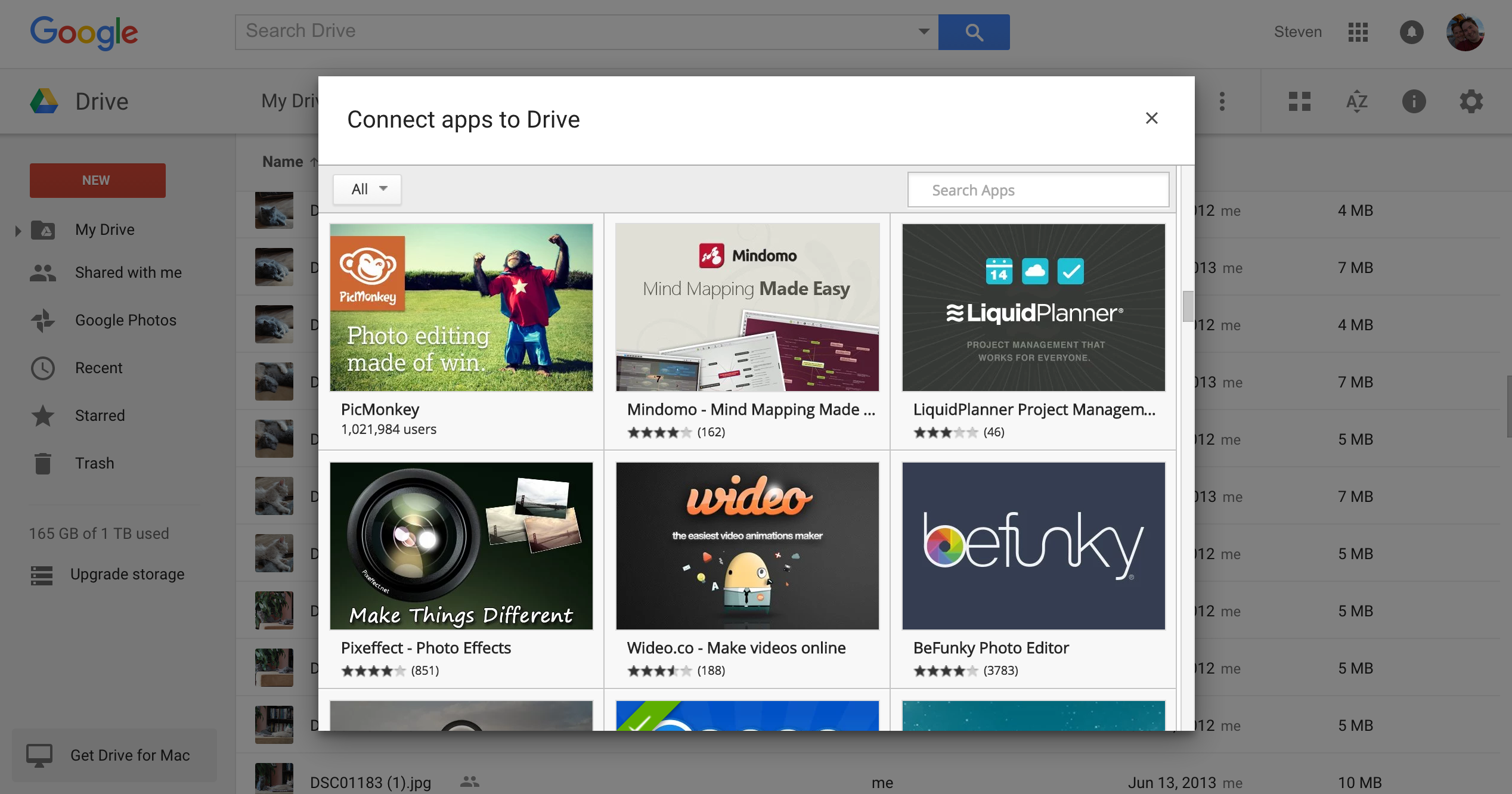 Chrome Web Store list of Drive apps