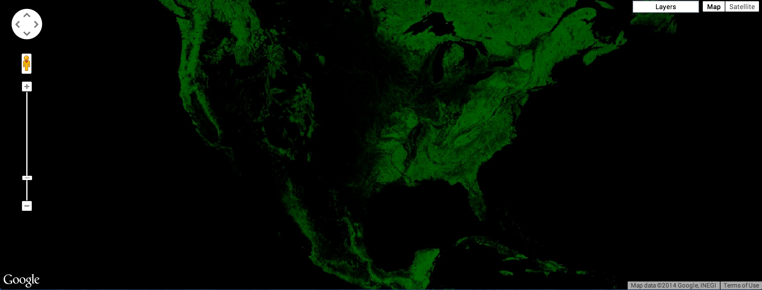 Year 2000 Tree Cover In The Us Green