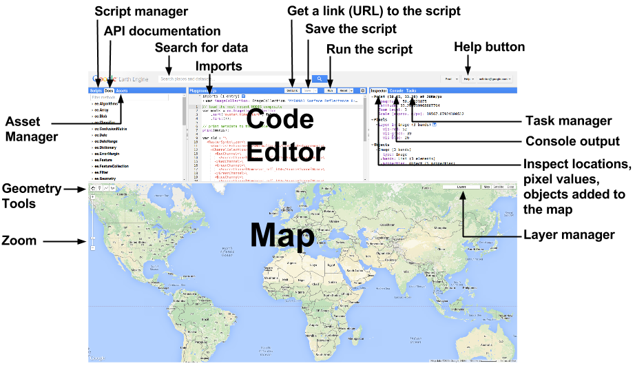 The Earth Engine Code Editor (source: developers.google.com)