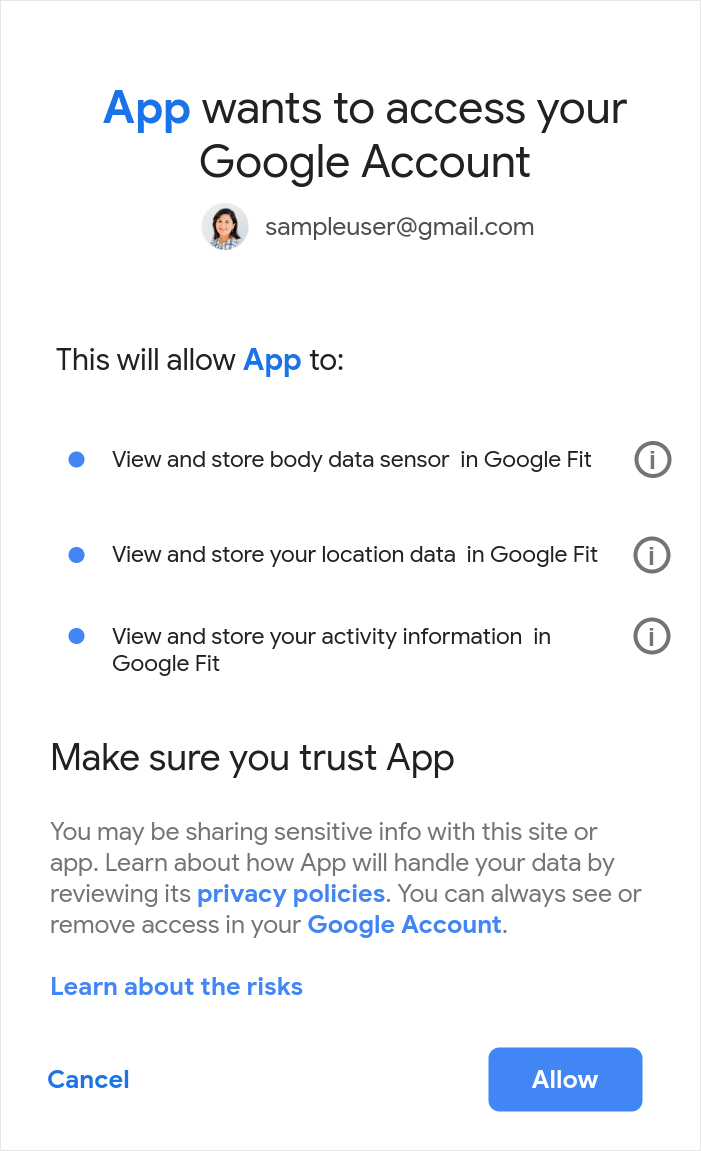 Example of the OAuth scopes consent screen