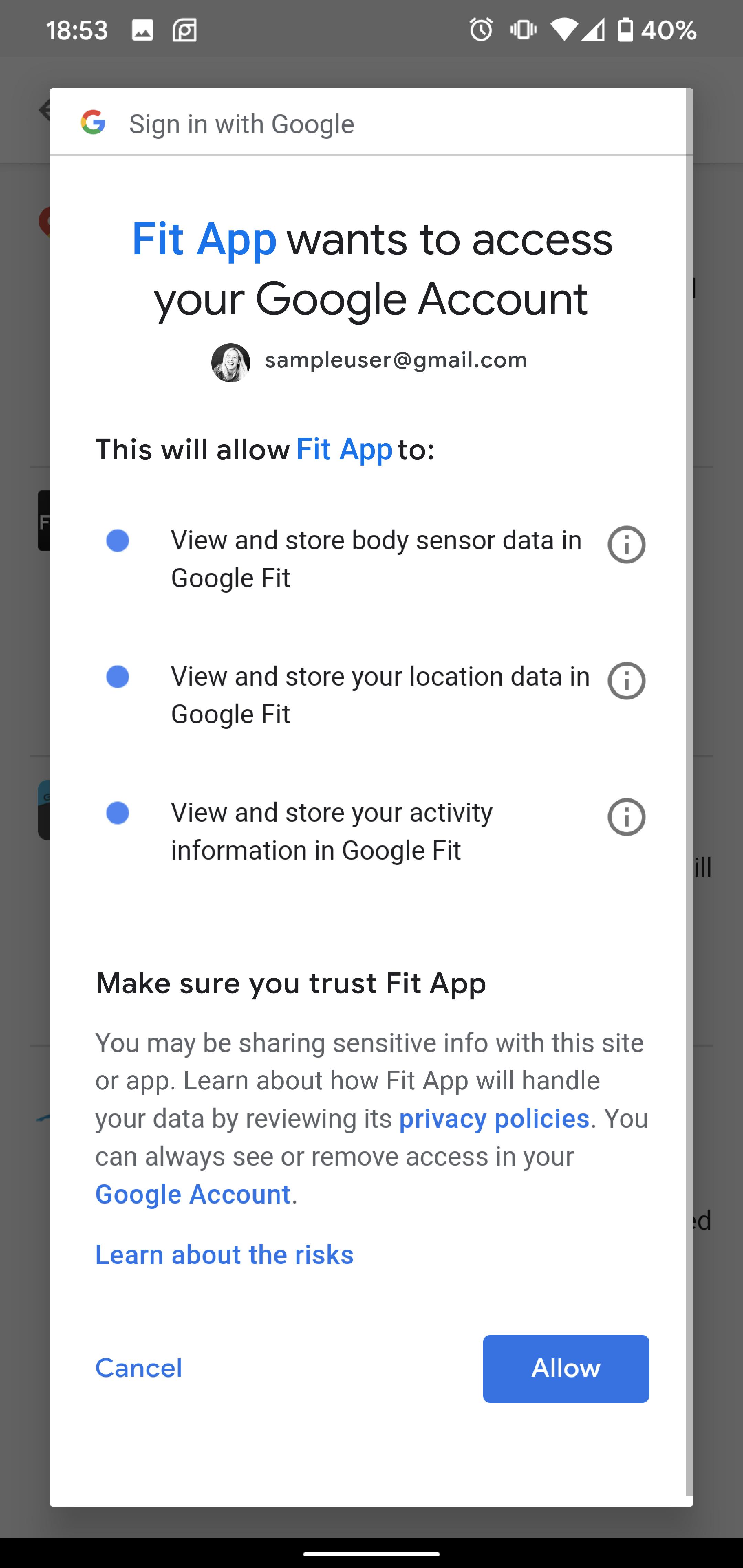 screen capture of consent screen