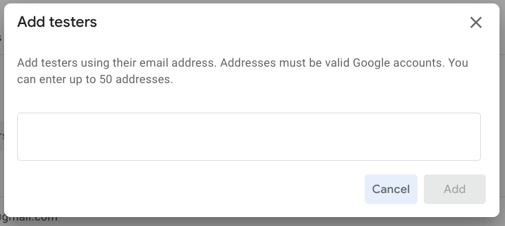 The 'Add new testers' dialog box