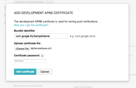 The Apple Push Notifications certificate setup screen in the Google   Play Developer Console