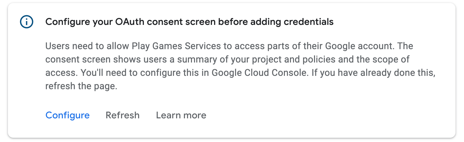 Prompt to configure OAuth consent screen