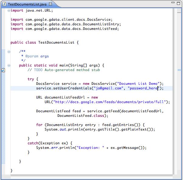 Working sample code