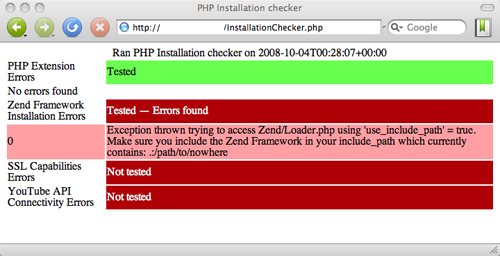 php installation checker output screenshot