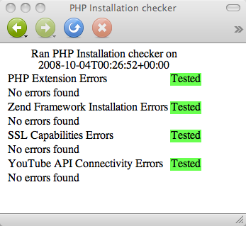 php installation checker output screenshot