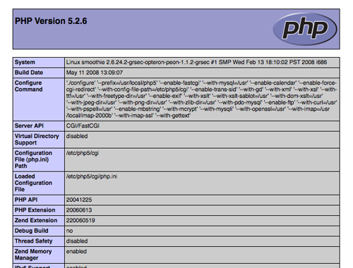 php info page screenshot