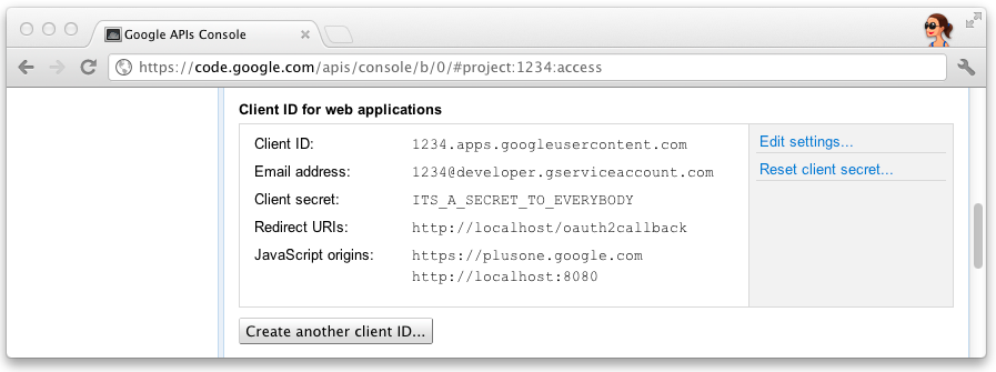 the client id and secret on the Google API console