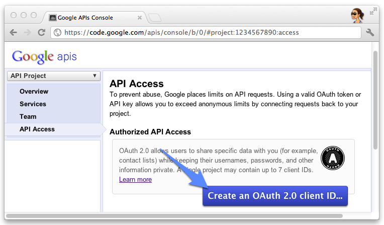 the API Access section of the Google API console