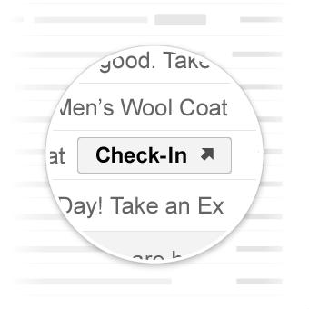 Botón de acción Check-in en la bandeja de entrada