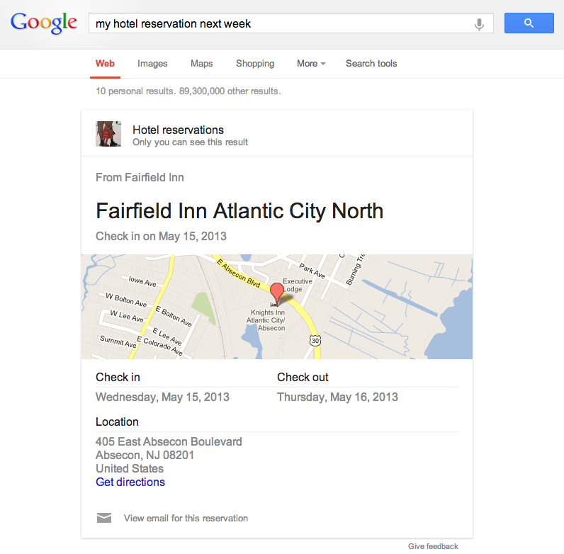 Upcoming Hotel Reservation Answer card in Google Search