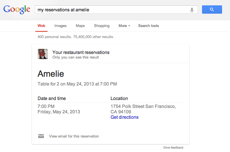 Upcoming Restaurant Reservation Answer card in Google Search