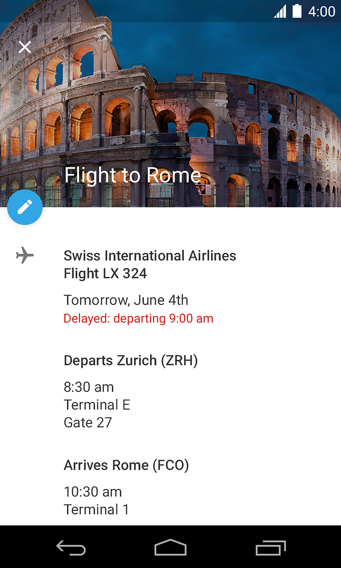 Flight Event in Google Calendar