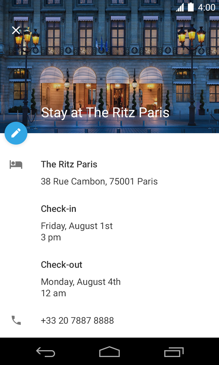 Hotel Reservation Event in Google Calendar
