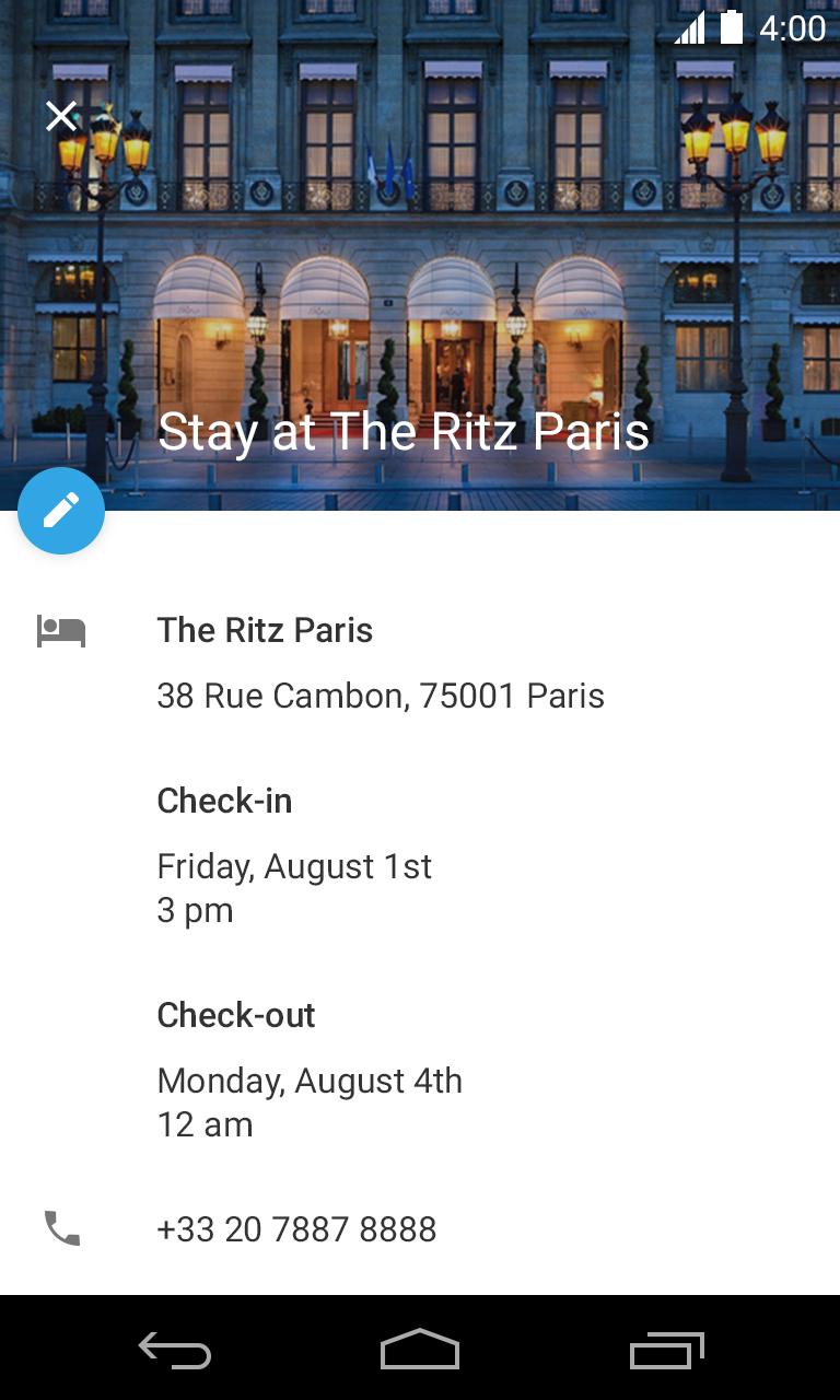 Hotel Reservation Event in Google Calendar