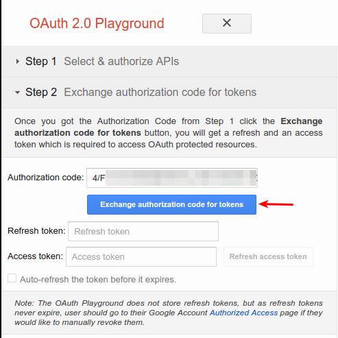 playground authcode token