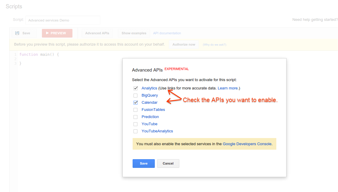Working with Advanced APIs | Google Ads scripts | Google