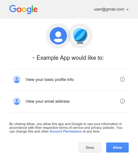 Example consent screen for a device client