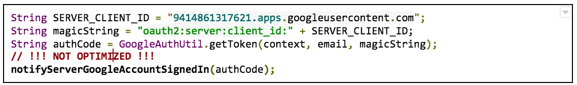 Android code