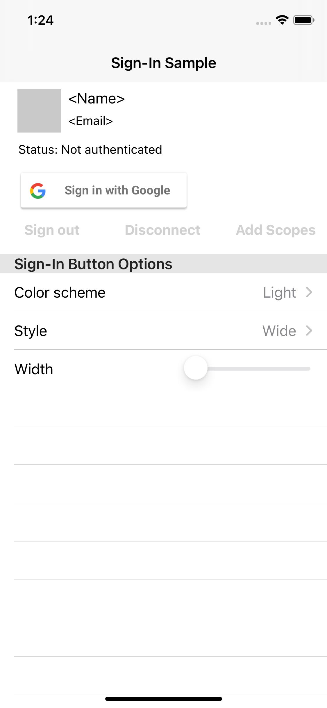 Captura de pantalla de la aplicación de muestra