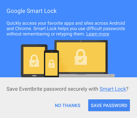 Smart Lock Save dialog