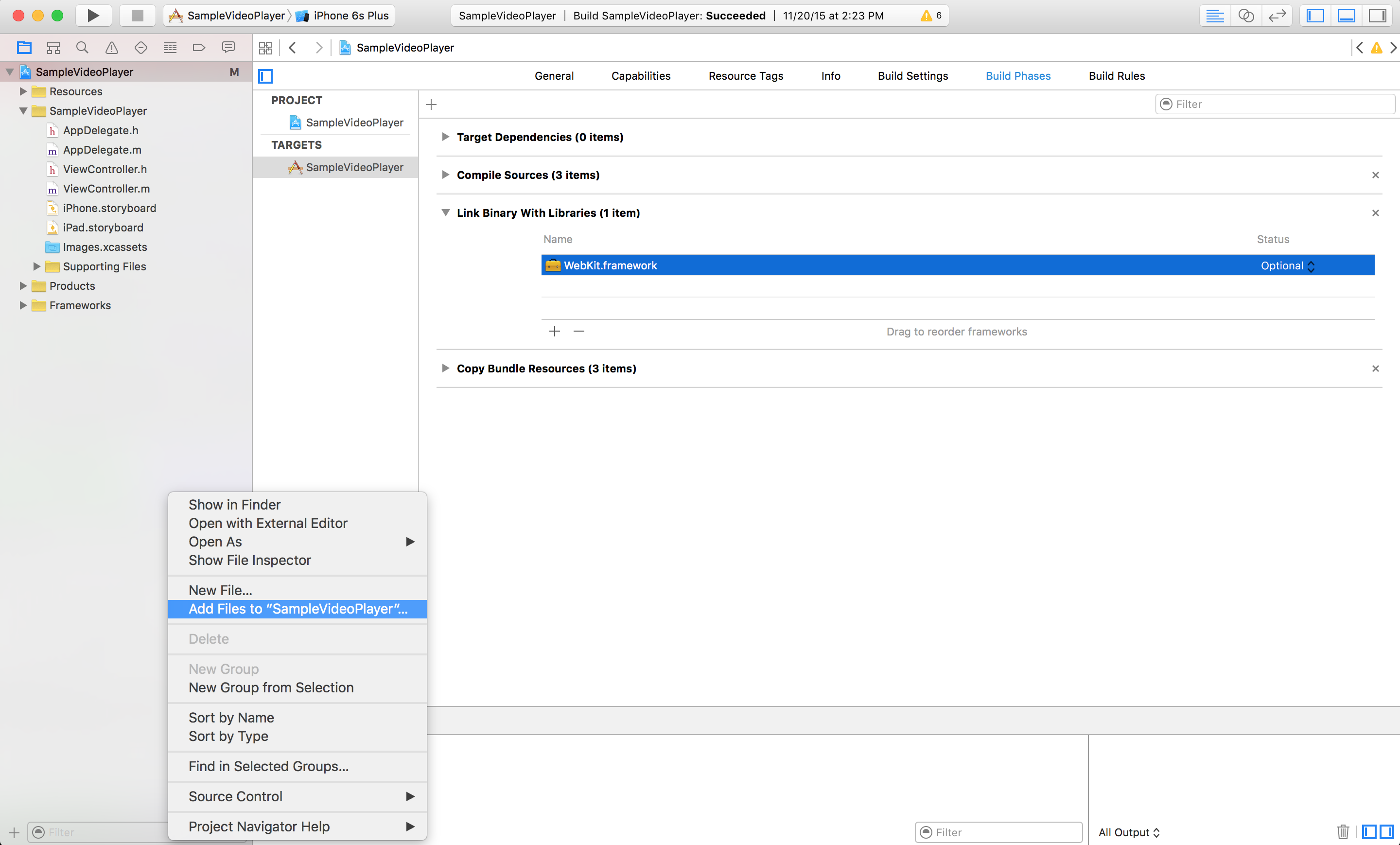 the contextual menu showing Add Files to SampleVideoPlayer within the Xcode interface