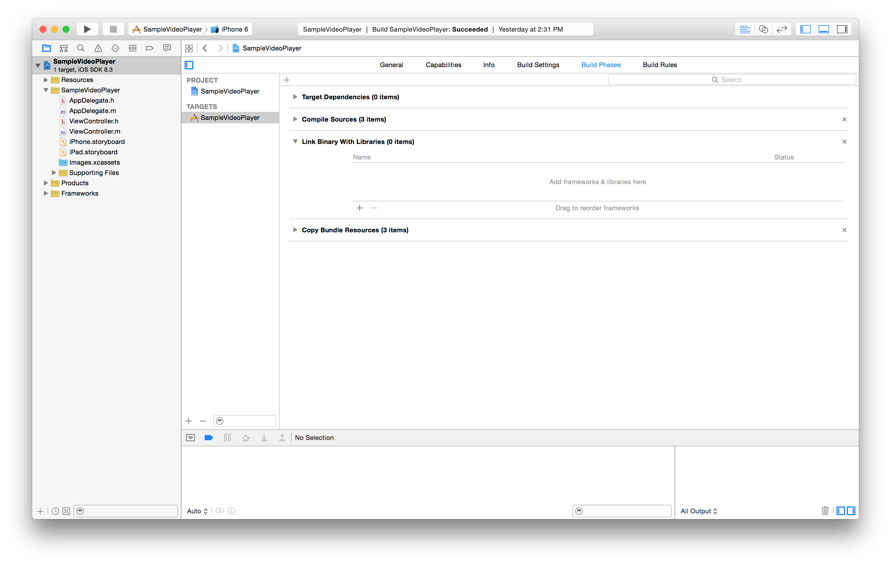 the Link Binary with Libraries section of the Xcode workspace