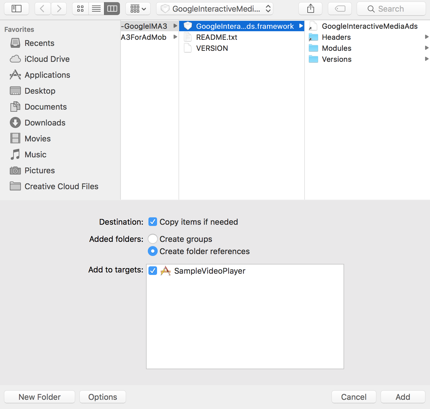 the Mac OS file browser showing the framework file selected