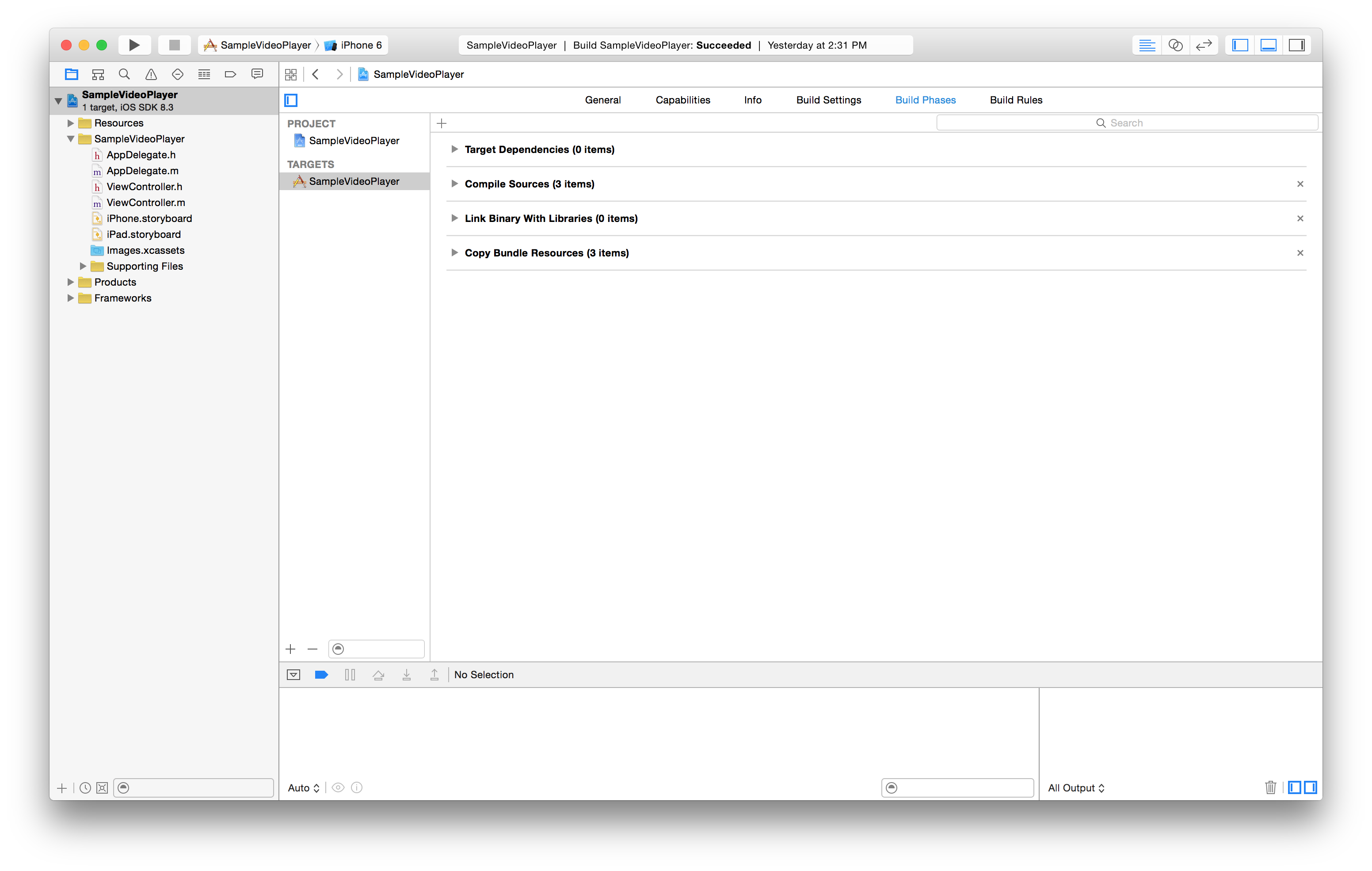the Build Phases tab of the Xcode workspace