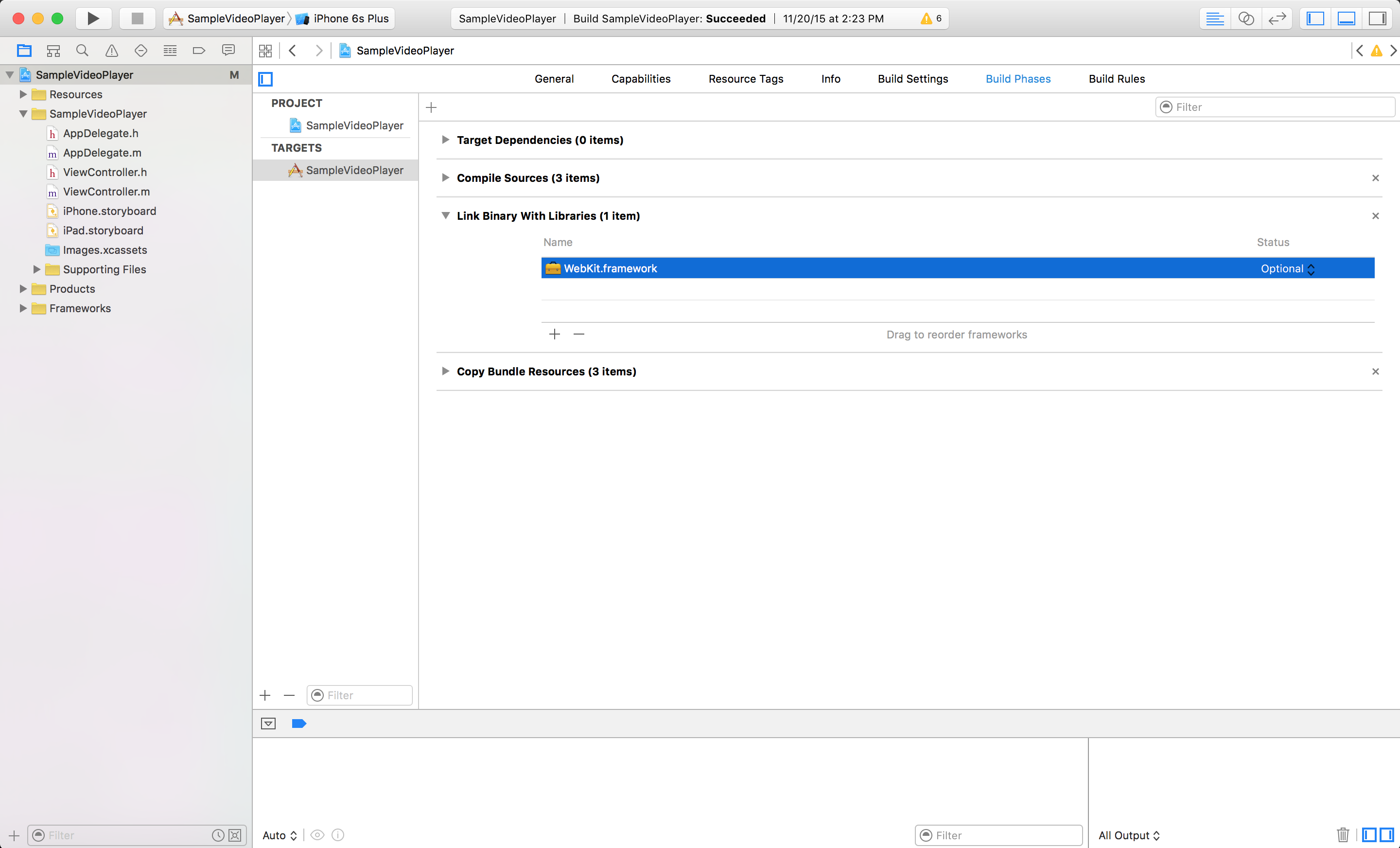WebKit.framework selected in the Xcode interface