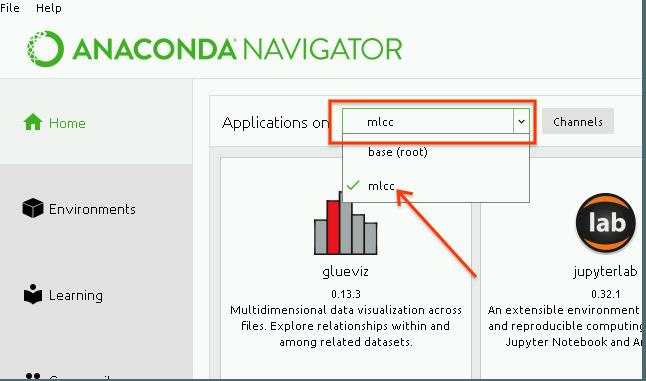 """Captura de pantalla del navegador de Anaconda con la opción """"mlcc"""" seleccionada en el menú desplegable del entorno"""