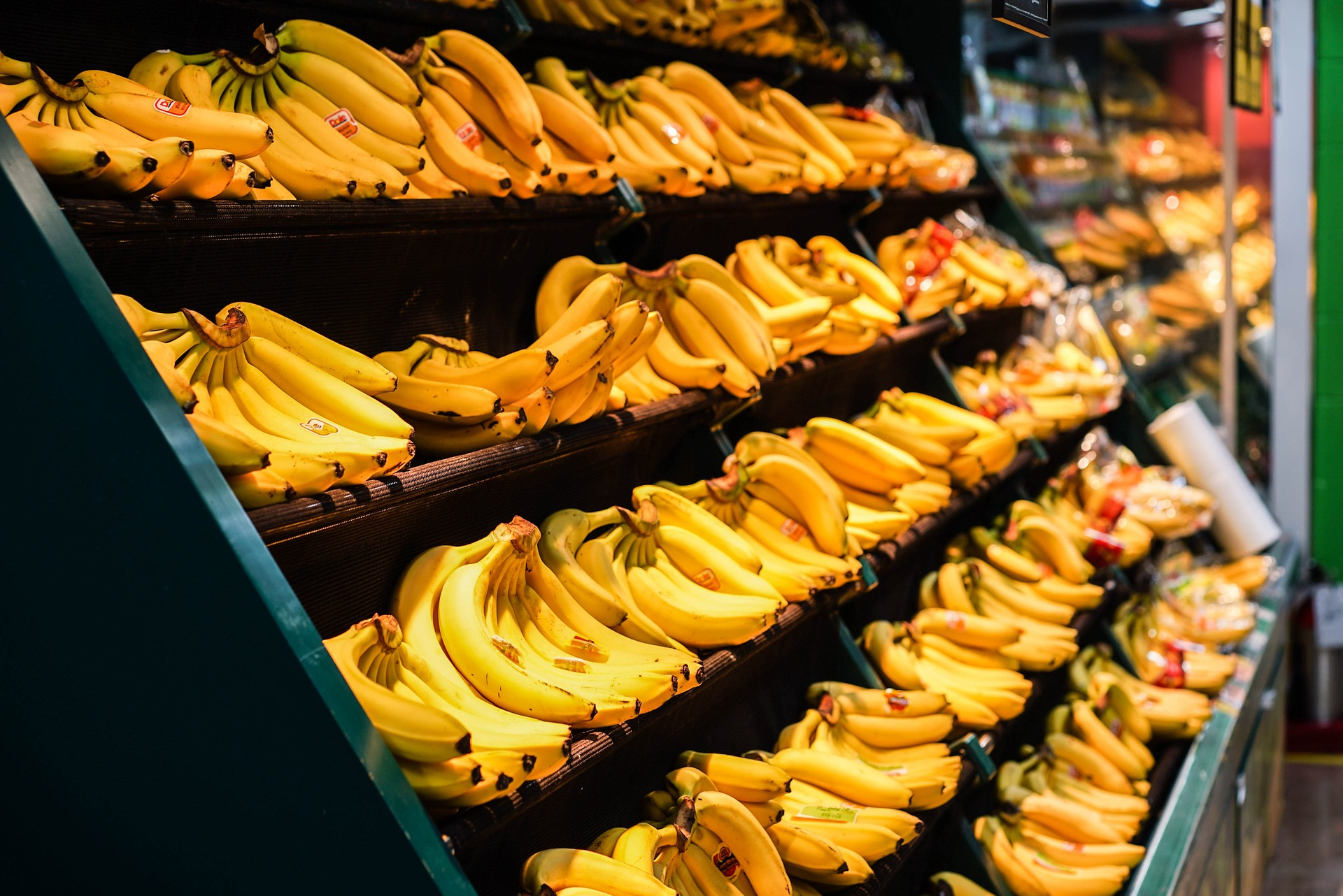 A bunch of bananas on a shelf at a store