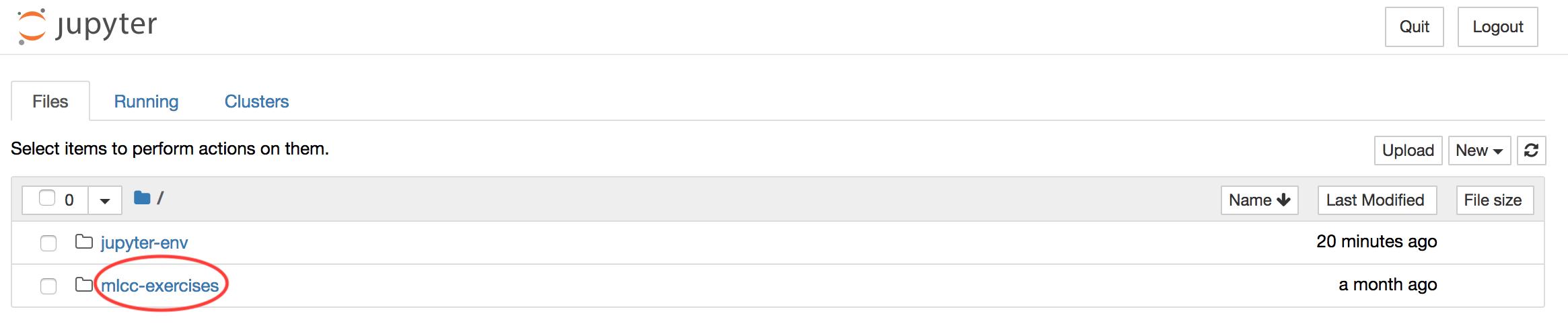 """Capture d'écran de l'interface du navigateur de fichiers Jupyter avec le répertoire """"mlcc-exercises"""" entouré"""