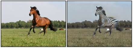 An image of a horse running, and a second image that's identical in all respeccts except that the horse is a zebra.