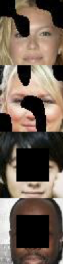 Four images. Each image is                                      a photo of a face with some areas replaced                                      with black.