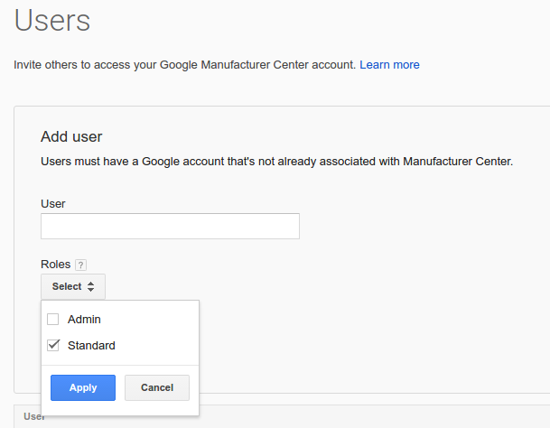 Add service account user page screenshot.