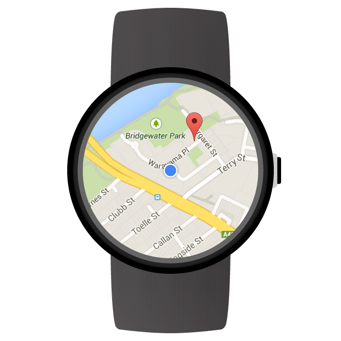 A map on a wearable device